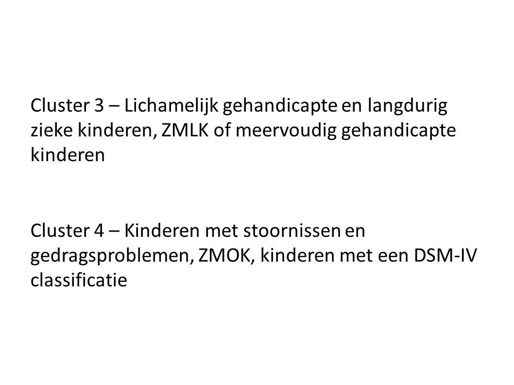 Cluster 3 – Lichamelijk gehandicapte en langdurig zieke kinderen, ZMLK of meervoudig gehandicapte kinderen