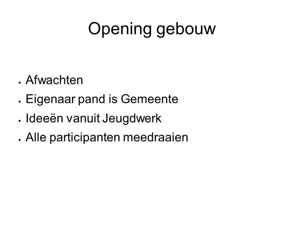 Opening gebouw Afwachten Eigenaar pand is Gemeente