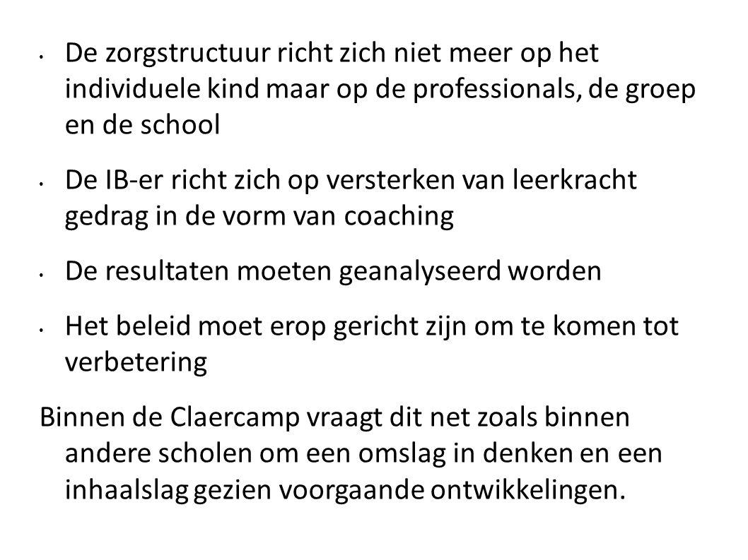 De zorgstructuur richt zich niet meer op het individuele kind maar op de professionals, de groep en de school
