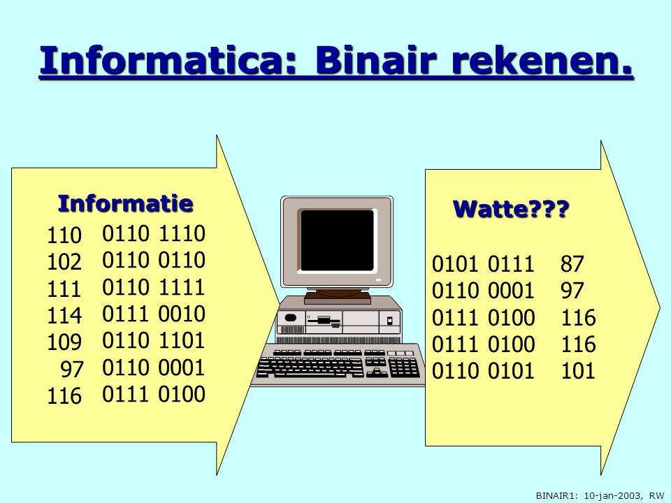 Informatica: Binair rekenen.