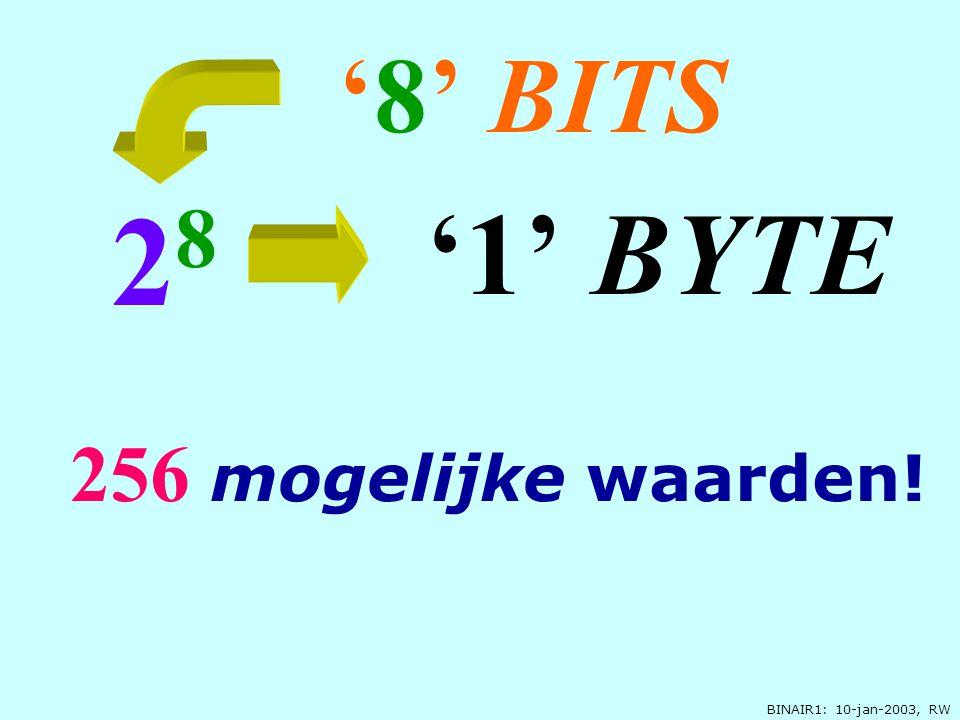 '8' BITS 28 '1' BYTE 256 mogelijke waarden! BINAIR1: 10-jan-2003, RW