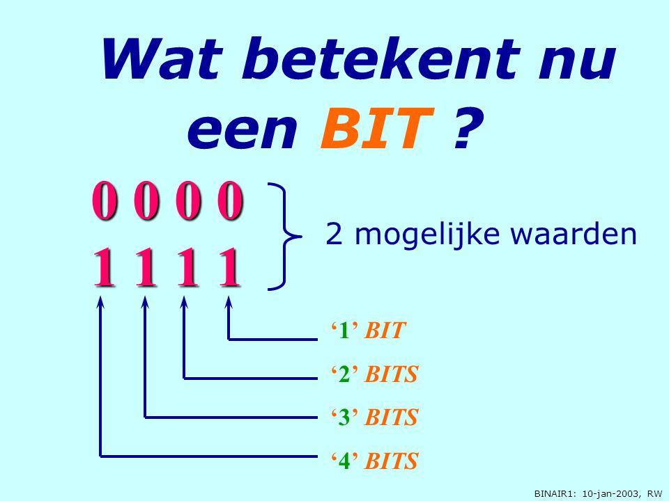 Wat betekent nu een BIT 0 0 0 0 1 1 1 1 2 mogelijke waarden '1' BIT