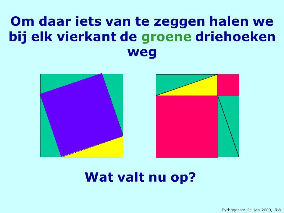 Om daar iets van te zeggen halen we bij elk vierkant de groene driehoeken weg