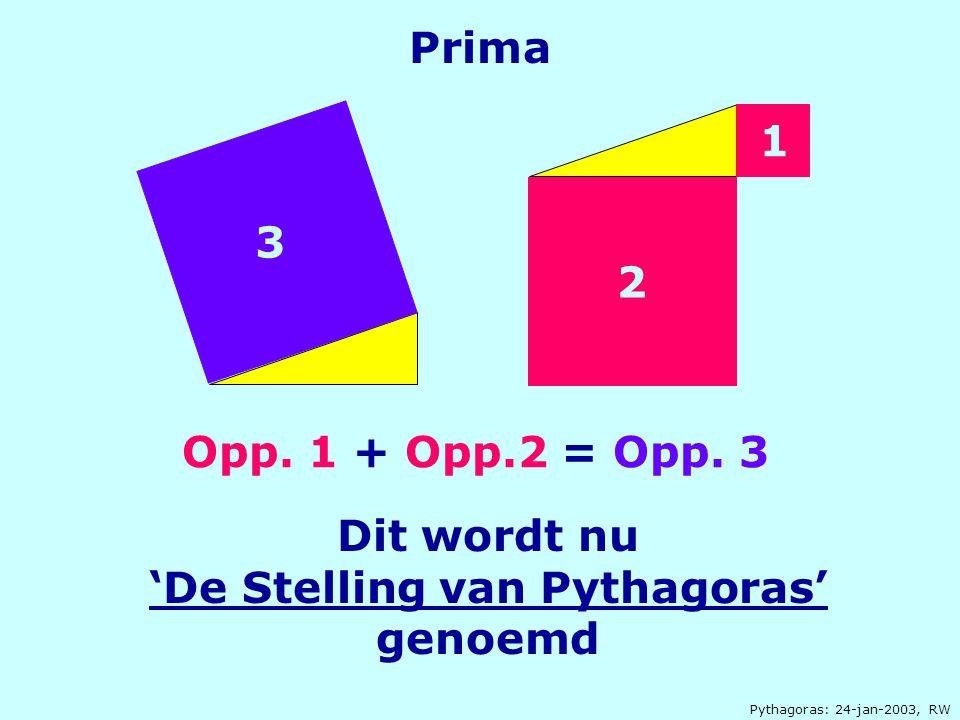 Dit wordt nu 'De Stelling van Pythagoras' genoemd