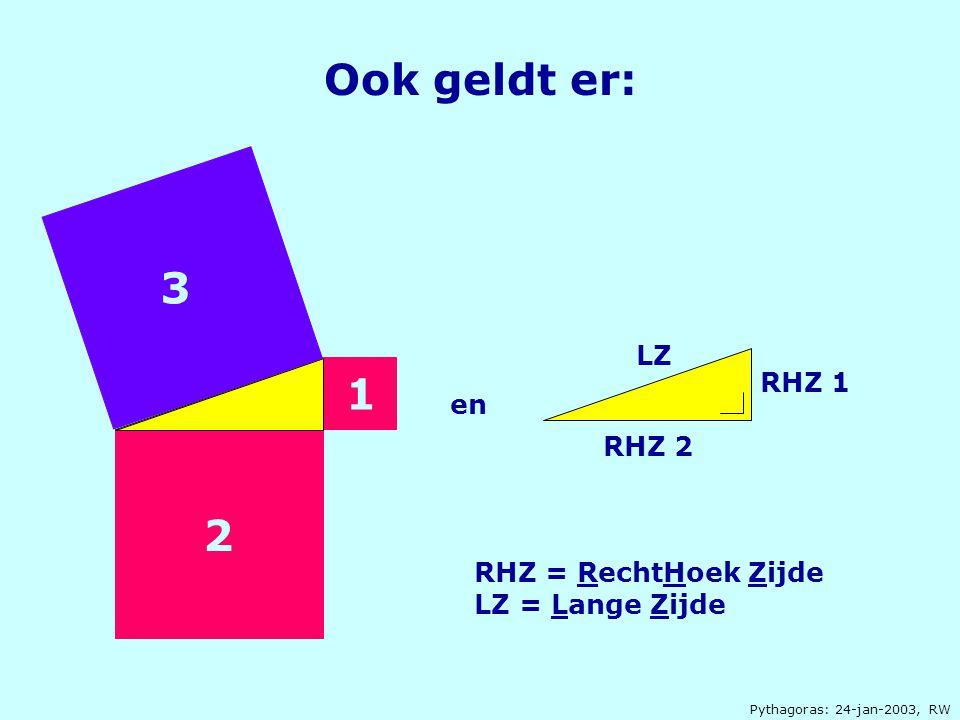 Ook geldt er: 3 1 2 LZ RHZ 1 en RHZ 2 RHZ = RechtHoek Zijde