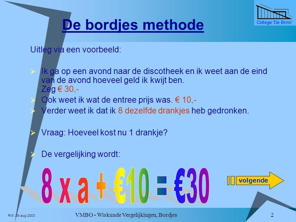 De bordjes methode 8 x a + €10 = €30 Uitleg via een voorbeeld: