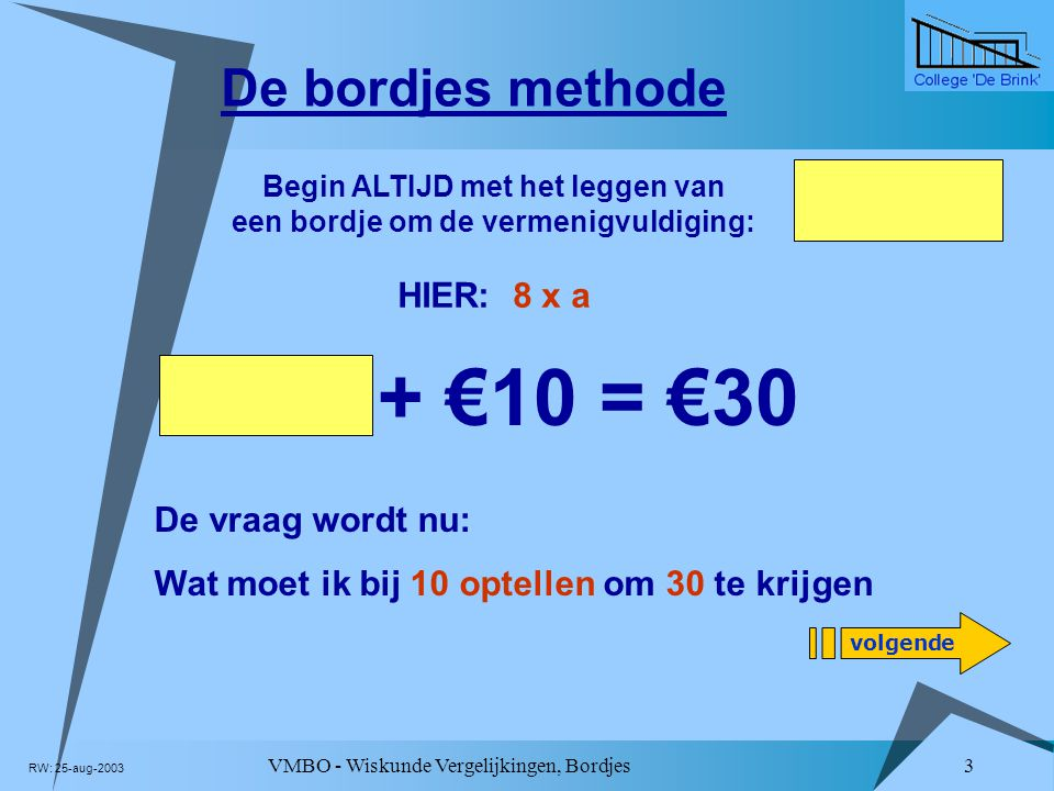 8 x a + €10 = €30 De bordjes methode De vraag wordt nu: