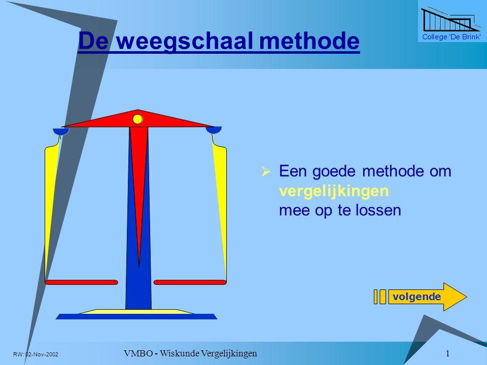 De weegschaal methode Een goede methode om vergelijkingen mee op te lossen. Klik linksonder op deze knop om presentatie te starten.