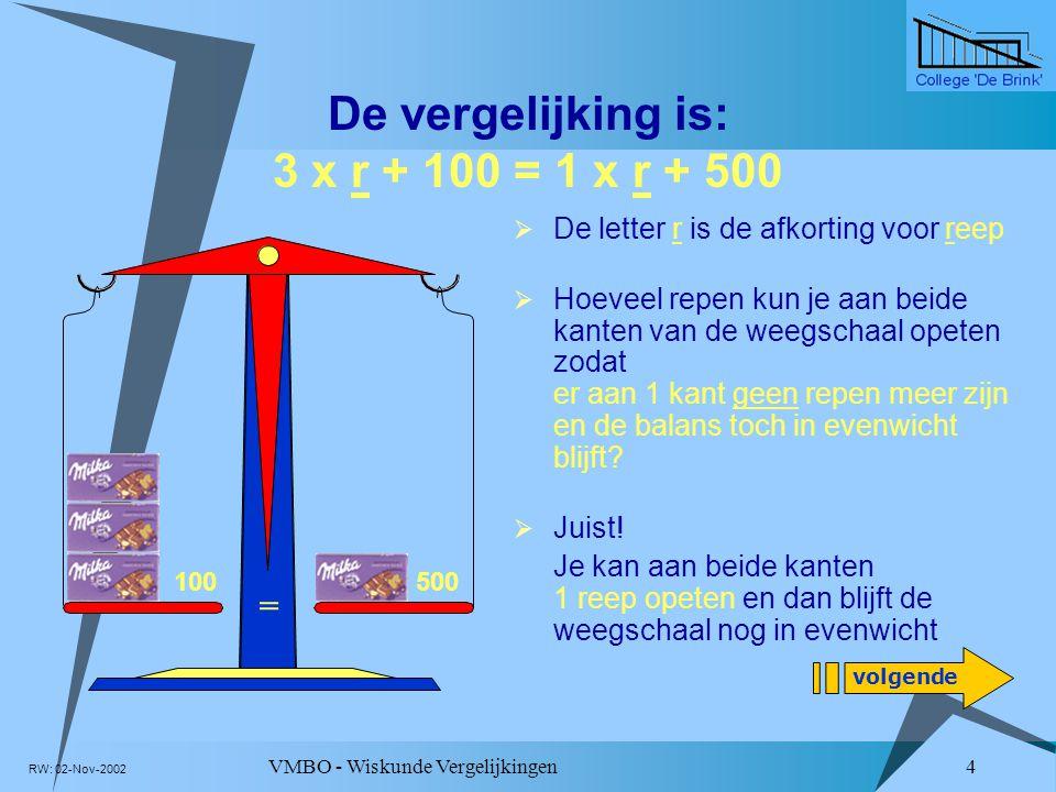De vergelijking is: 3 x r + 100 = 1 x r + 500
