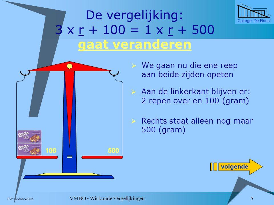De vergelijking: 3 x r + 100 = 1 x r + 500 gaat veranderen