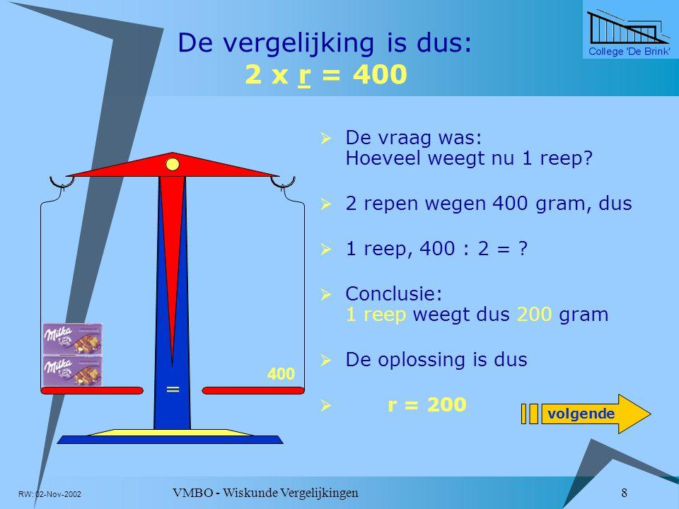 De vergelijking is dus: 2 x r = 400