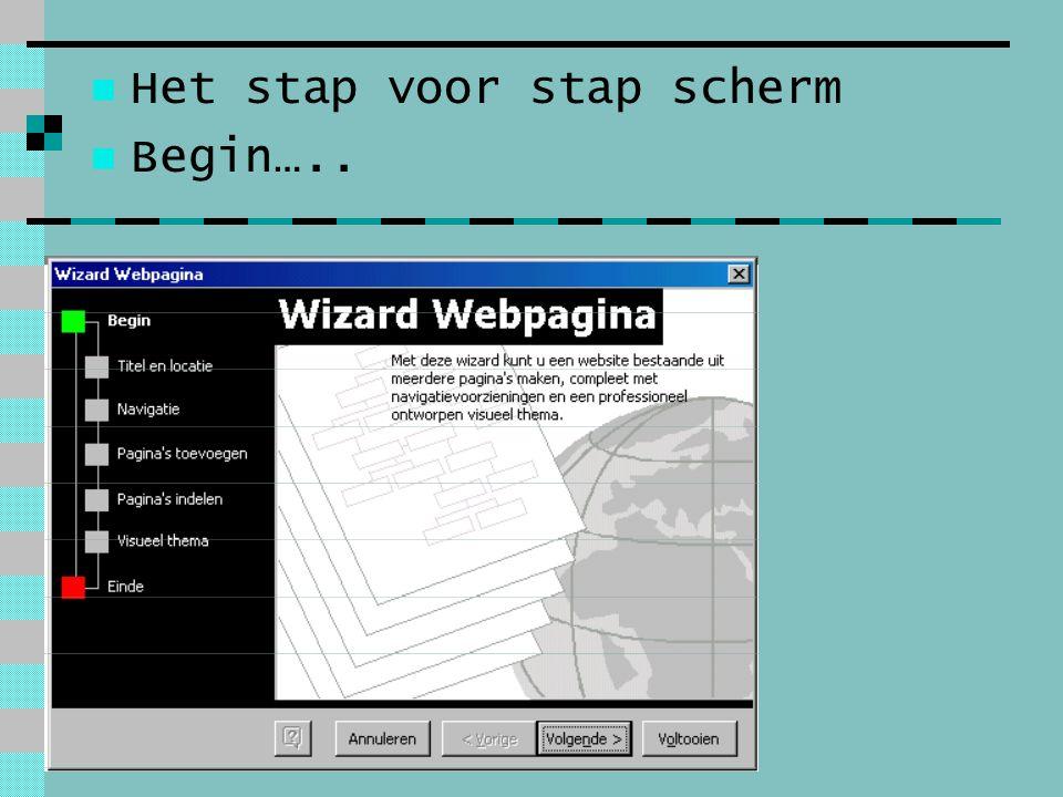 Het stap voor stap scherm