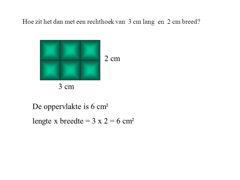 lengte x breedte = 3 x 2 = 6 cm²