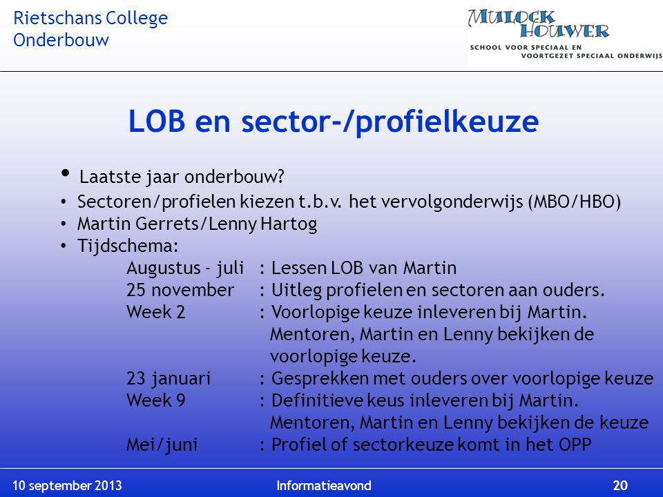 LOB en sector-/profielkeuze