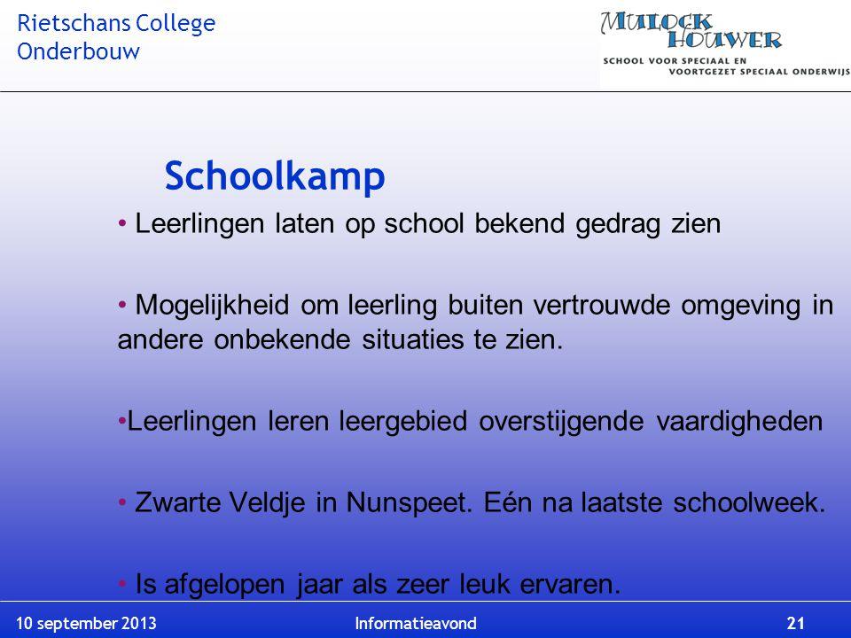 Schoolkamp Leerlingen laten op school bekend gedrag zien