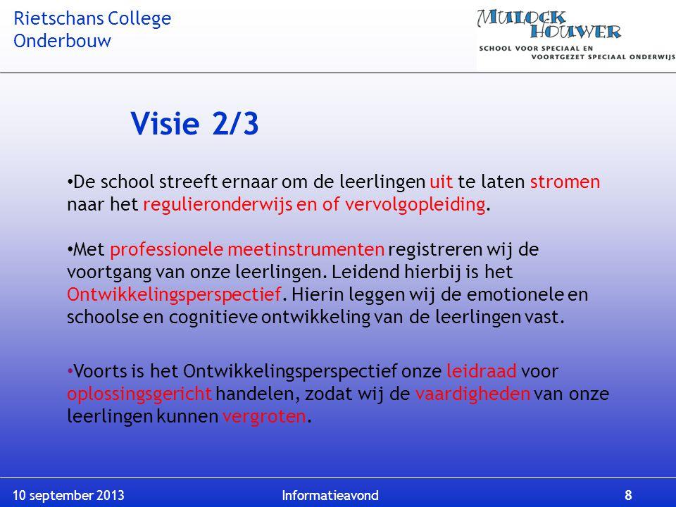 Visie 2/3 De school streeft ernaar om de leerlingen uit te laten stromen naar het regulieronderwijs en of vervolgopleiding.