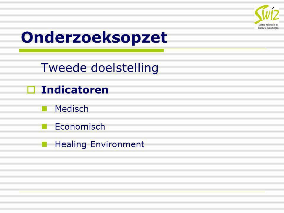 Onderzoeksopzet Tweede doelstelling Indicatoren Medisch Economisch