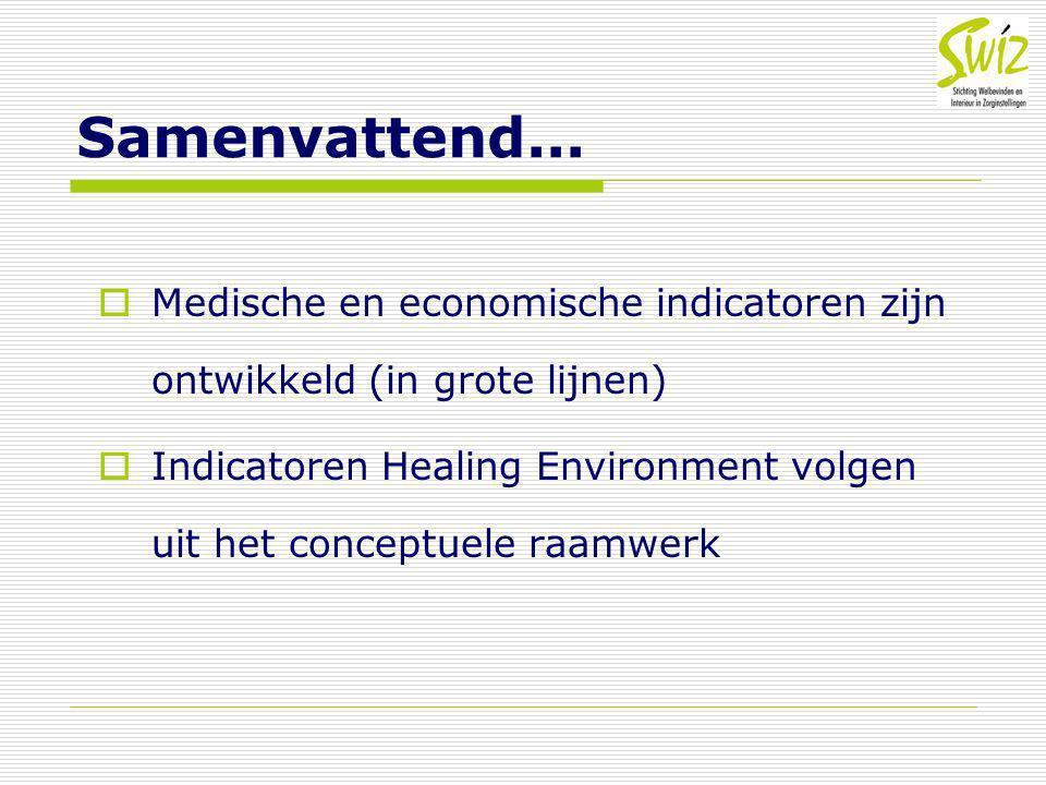 Samenvattend... Medische en economische indicatoren zijn ontwikkeld (in grote lijnen)
