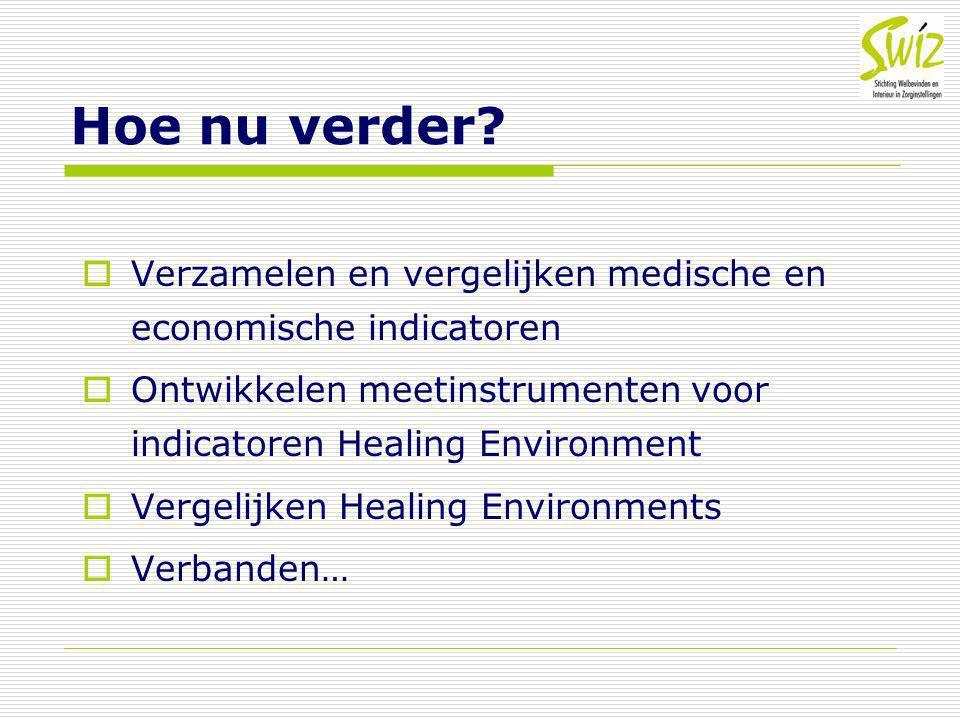 Hoe nu verder Verzamelen en vergelijken medische en economische indicatoren. Ontwikkelen meetinstrumenten voor indicatoren Healing Environment.