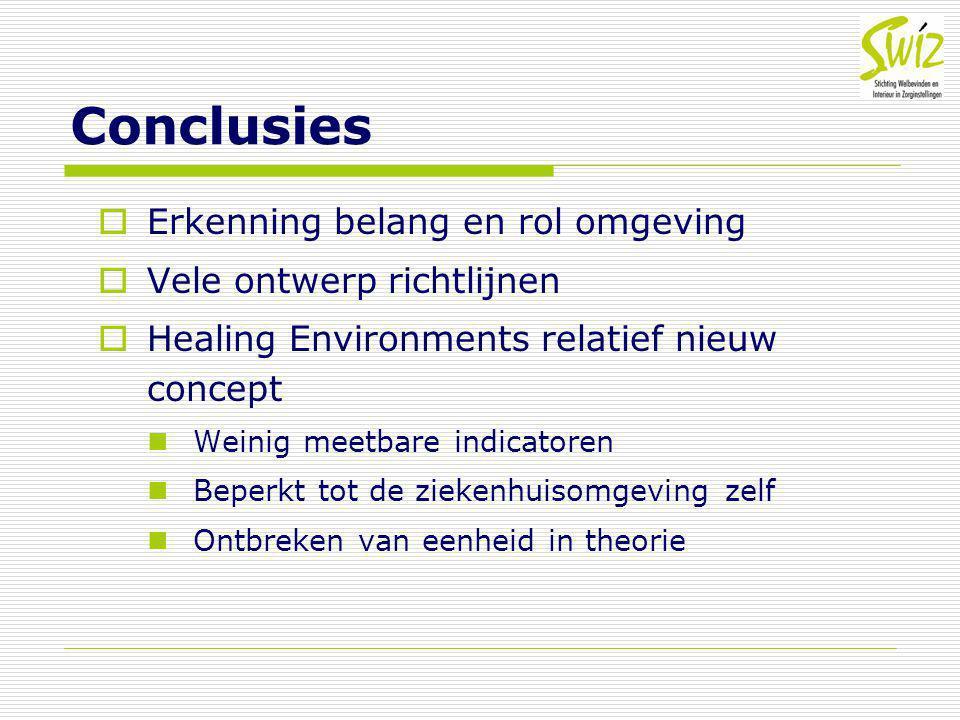 Conclusies Erkenning belang en rol omgeving Vele ontwerp richtlijnen