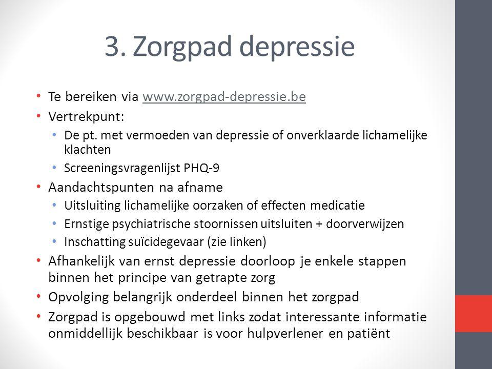 3. Zorgpad depressie Te bereiken via www.zorgpad-depressie.be
