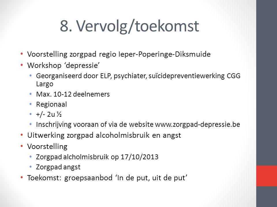 8. Vervolg/toekomst Voorstelling zorgpad regio Ieper-Poperinge-Diksmuide. Workshop 'depressie'