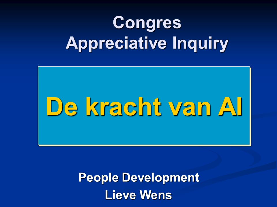 Congres Appreciative Inquiry
