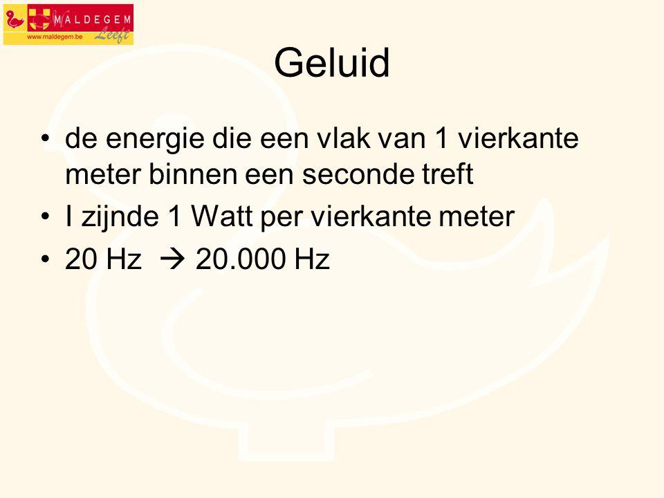 Geluid de energie die een vlak van 1 vierkante meter binnen een seconde treft. I zijnde 1 Watt per vierkante meter.
