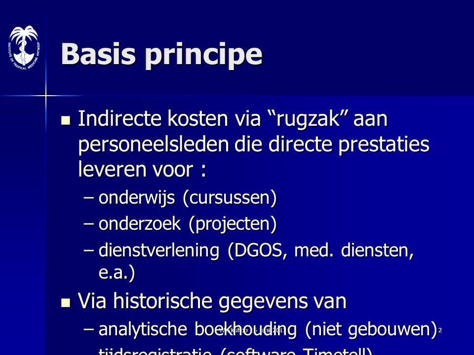 Basis principe Indirecte kosten via rugzak aan personeelsleden die directe prestaties leveren voor :