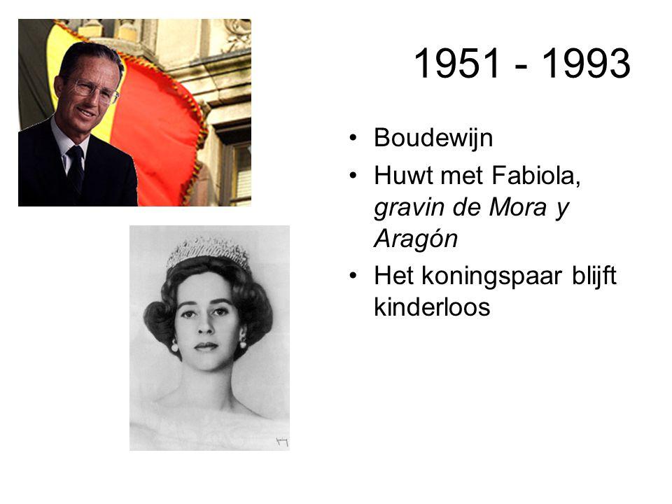 1951 - 1993 Boudewijn Huwt met Fabiola, gravin de Mora y Aragón