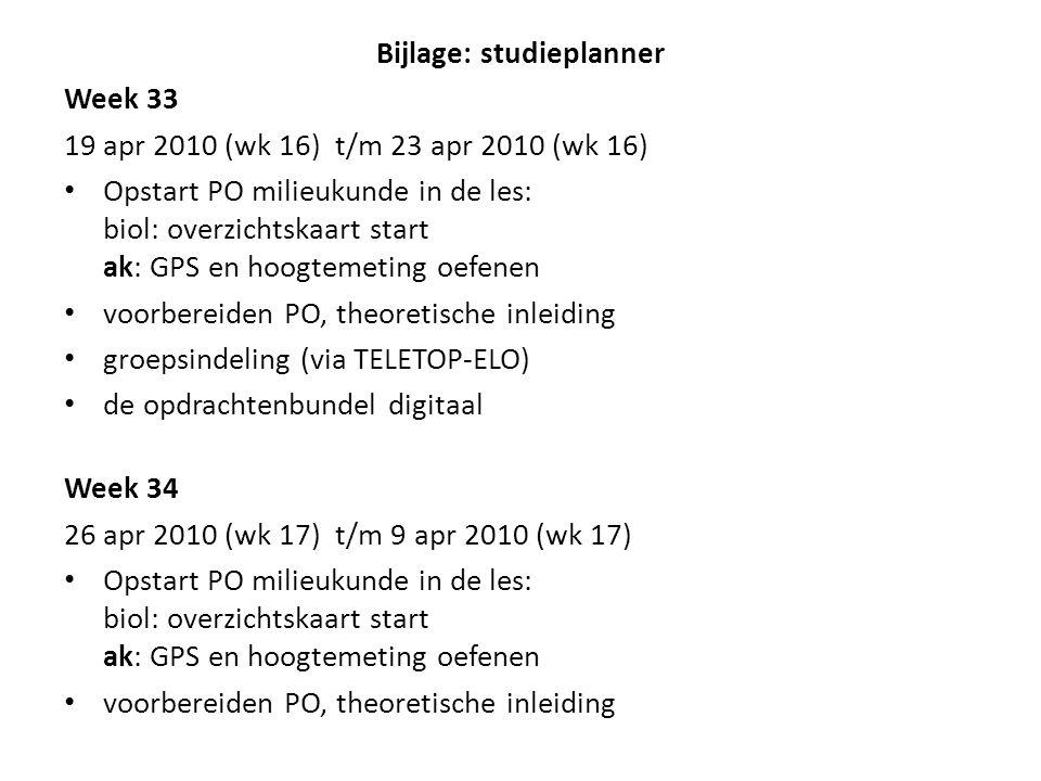 Bijlage: studieplanner