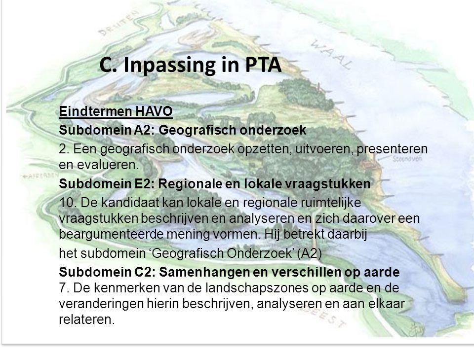 C. Inpassing in PTA Eindtermen HAVO