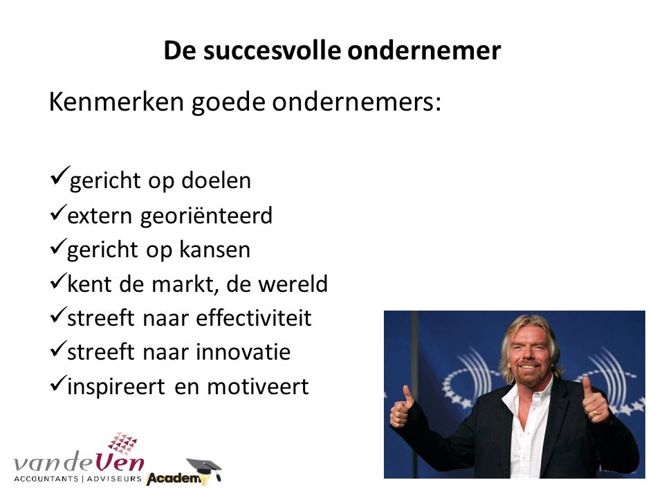 De succesvolle ondernemer