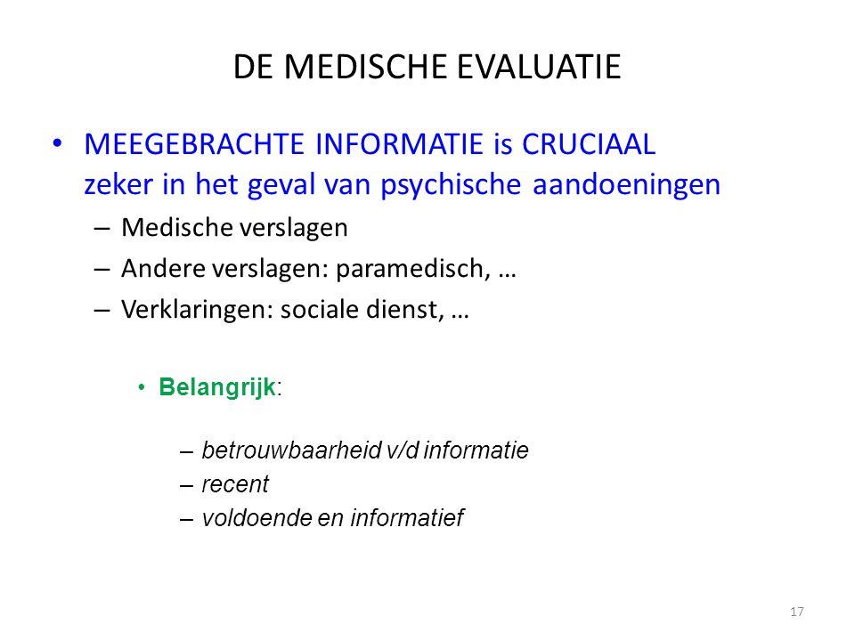 DE MEDISCHE EVALUATIE MEEGEBRACHTE INFORMATIE is CRUCIAAL zeker in het geval van psychische aandoeningen.