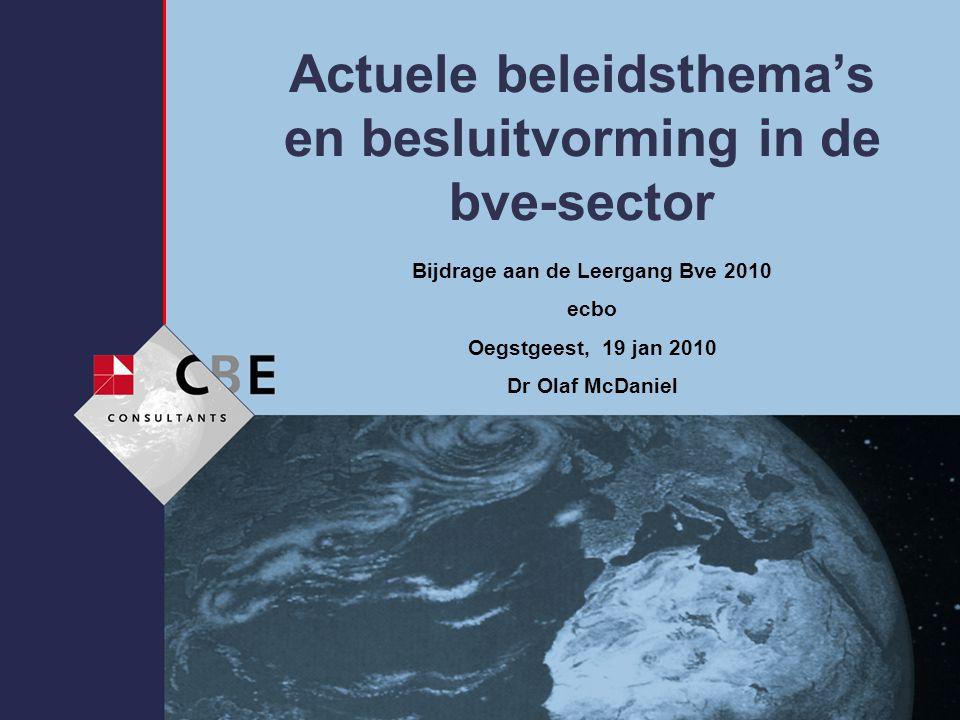 Actuele beleidsthema's en besluitvorming in de bve-sector