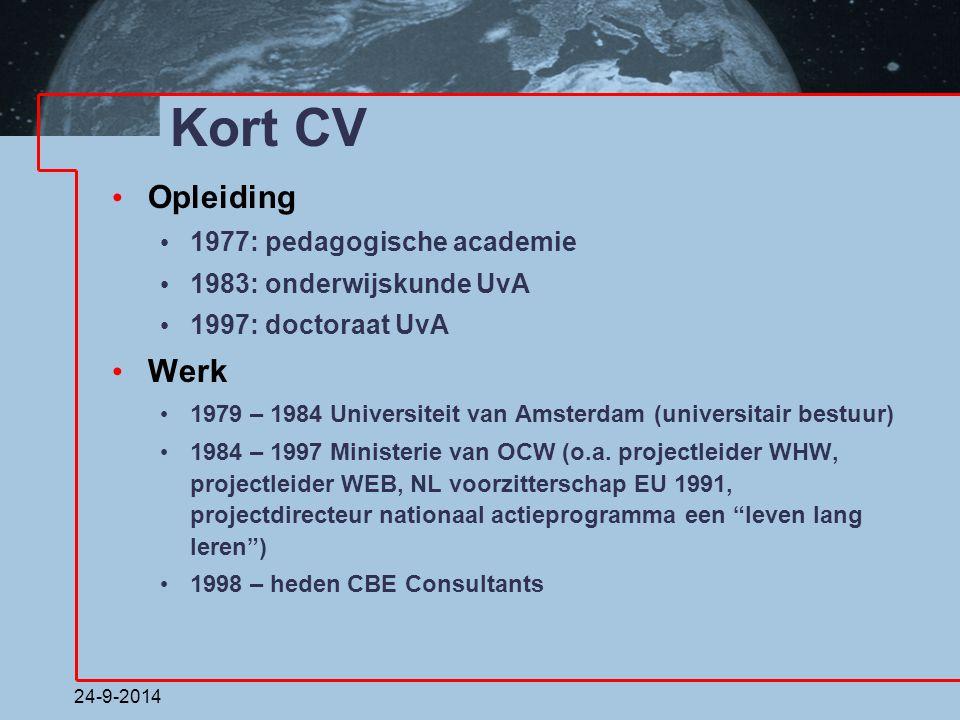 Kort CV Opleiding Werk 1977: pedagogische academie