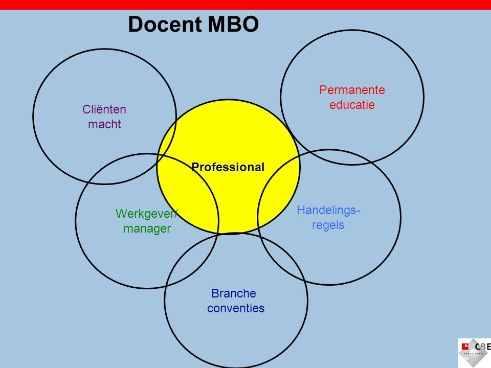 Docent MBO Permanente educatie Cliënten macht Professional Handelings-