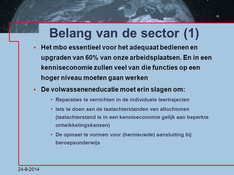 Belang van de sector (1)