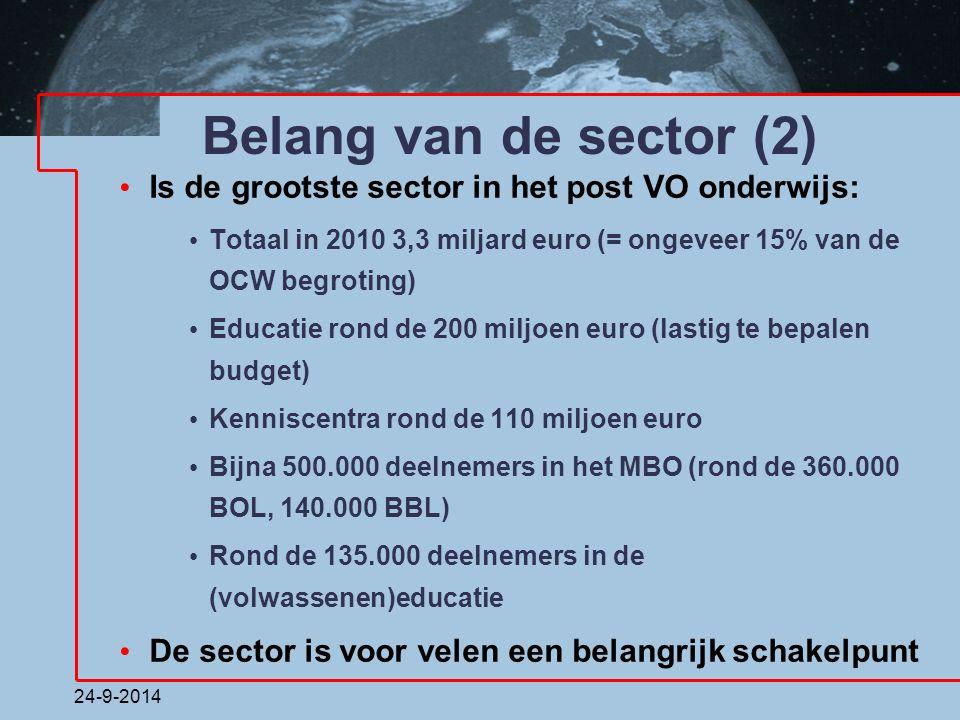 Belang van de sector (2) Is de grootste sector in het post VO onderwijs: Totaal in 2010 3,3 miljard euro (= ongeveer 15% van de OCW begroting)