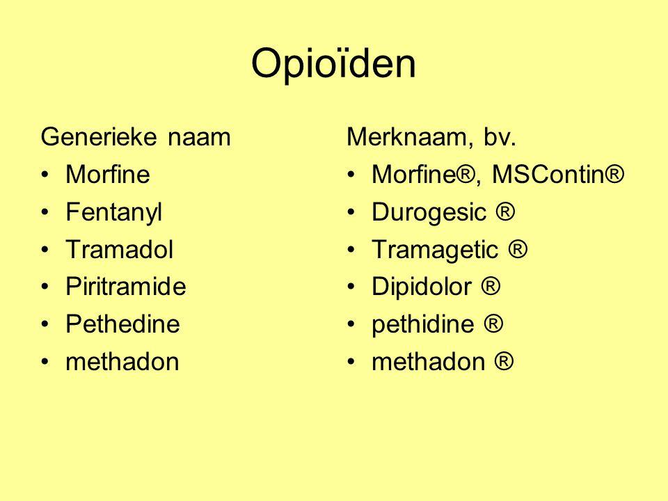 Opioïden Generieke naam Morfine Fentanyl Tramadol Piritramide