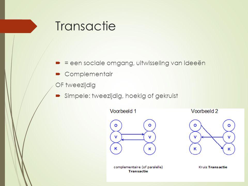 Transactie = een sociale omgang, uitwisseling van ideeën Complementair