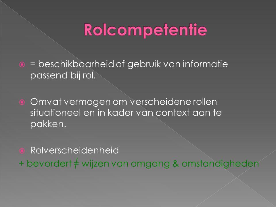 Rolcompetentie = beschikbaarheid of gebruik van informatie passend bij rol.