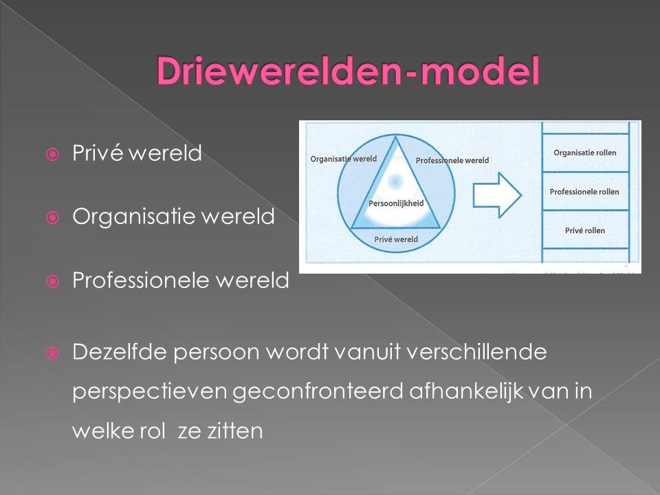 Driewerelden-model Privé wereld Organisatie wereld
