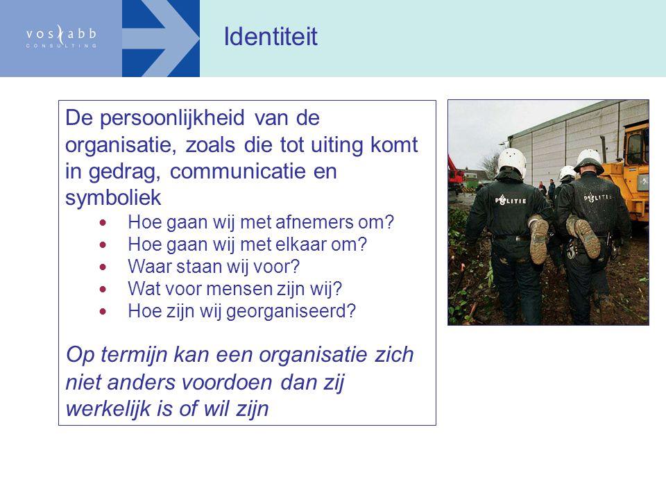 Identiteit De persoonlijkheid van de organisatie, zoals die tot uiting komt in gedrag, communicatie en symboliek.