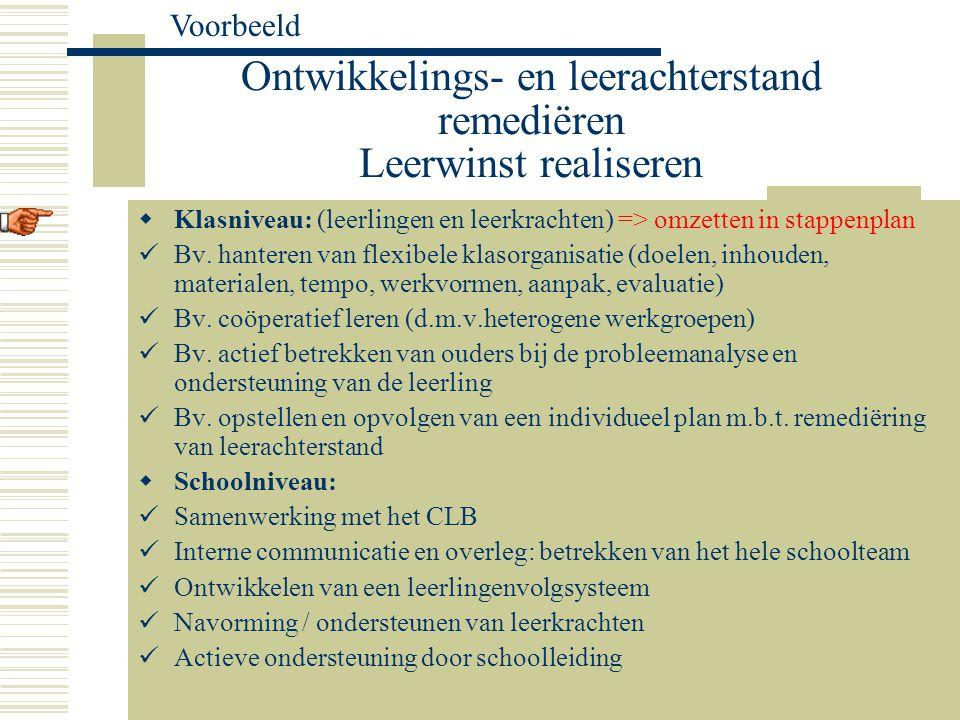 Ontwikkelings- en leerachterstand remediëren Leerwinst realiseren