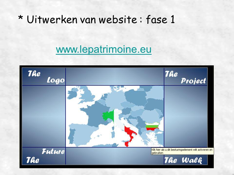 * Uitwerken van website : fase 1