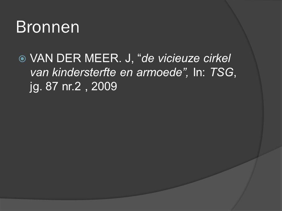Bronnen VAN DER MEER. J, de vicieuze cirkel van kindersterfte en armoede , In: TSG, jg.