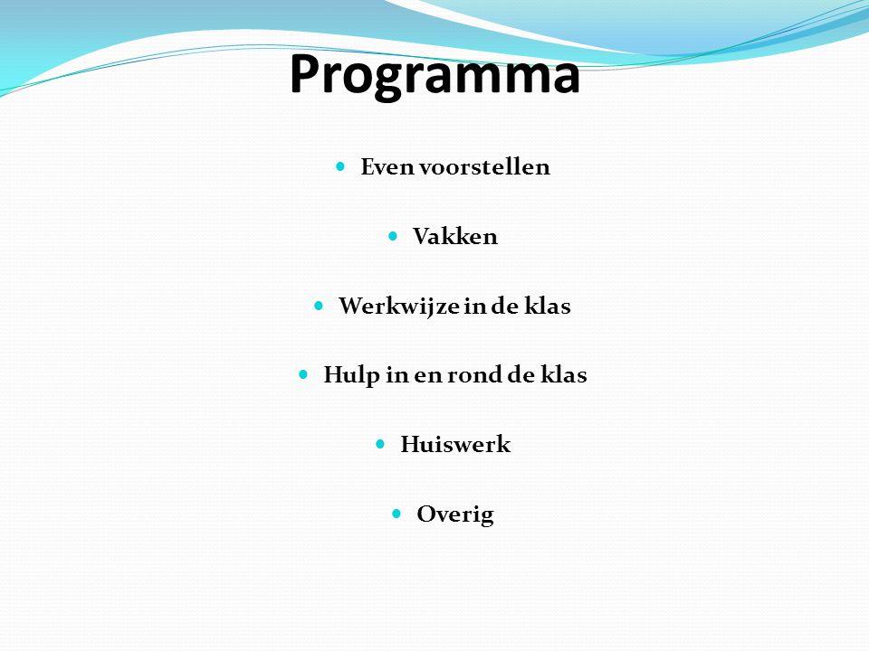 Programma Even voorstellen Vakken Werkwijze in de klas