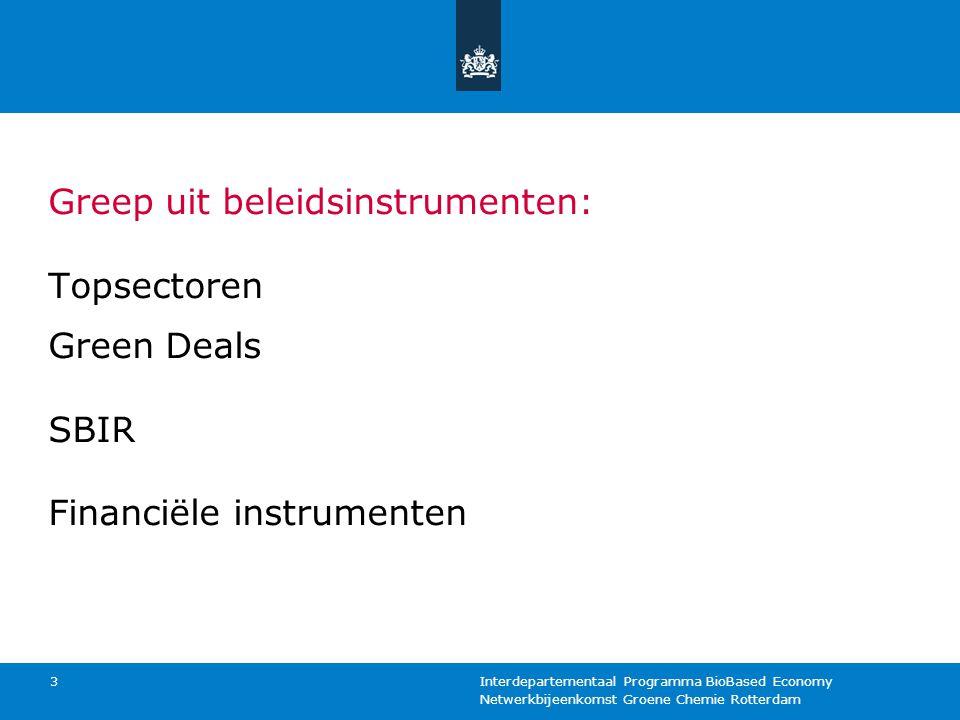 Greep uit beleidsinstrumenten: Topsectoren Green Deals SBIR Financiële instrumenten