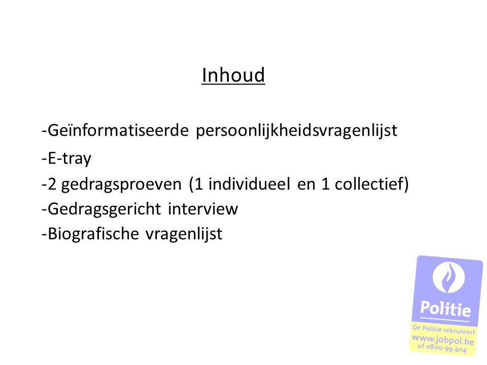 Inhoud Geïnformatiseerde persoonlijkheidsvragenlijst E-tray